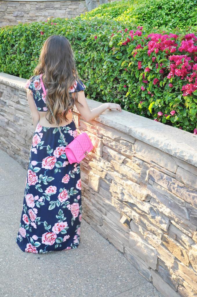 floral maxi_cutout_hot pink