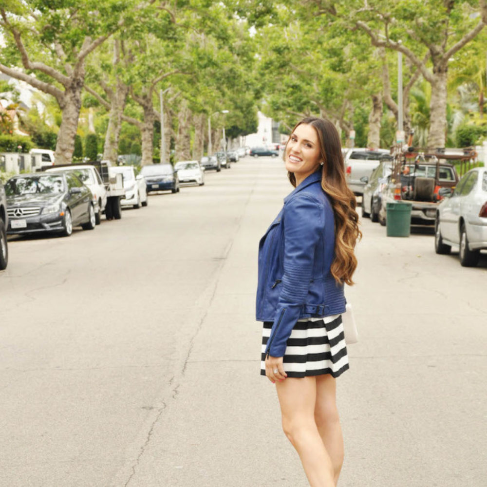 blue leather striped skirt