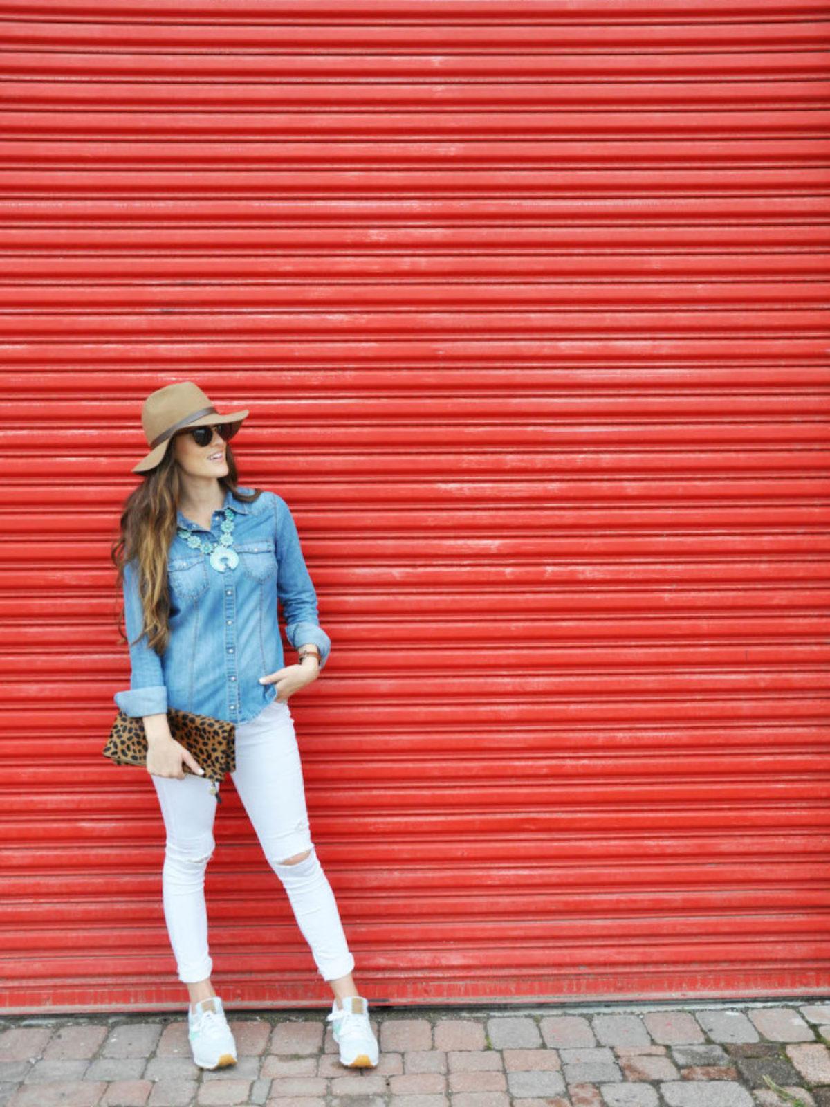 denim turquoise white jeans