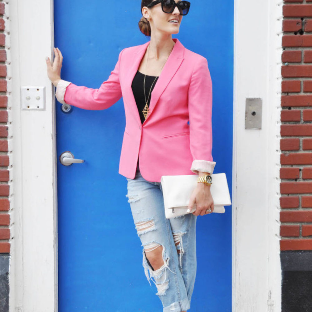 pink blazer distressed denim