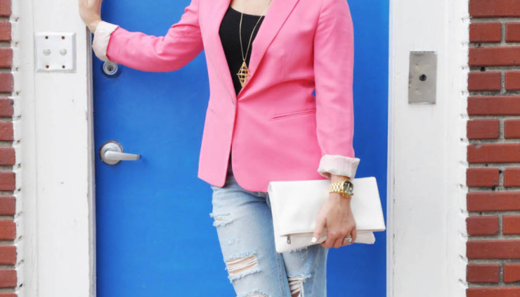 pink blazer distressed denim