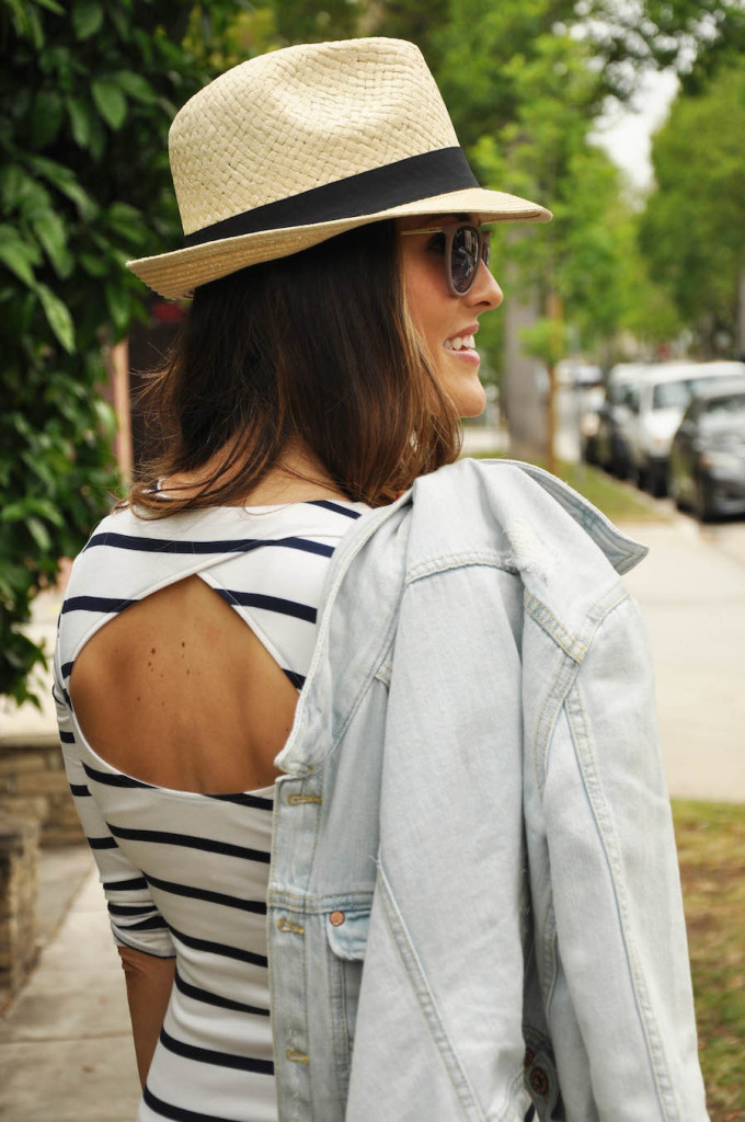 striped dress denim jacket