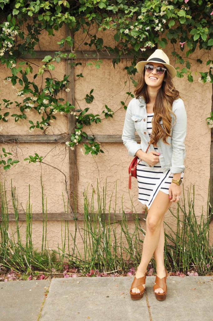 striped dress denim jacket