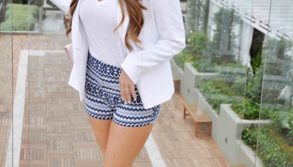 printed shorts_white blazer_styled by kasey