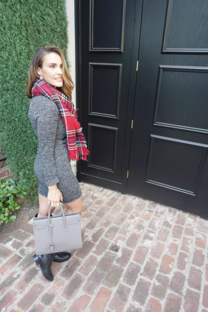 lulus_plaid scarf and sweater dress