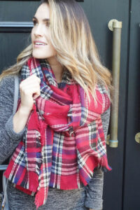 lulus_plaid scarf and sweater dress