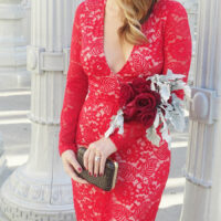 red lace dress styled by kasey