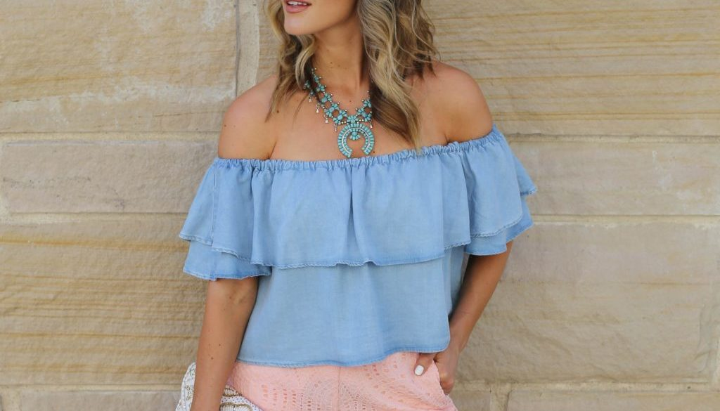 lace shorts off the shoulder top styled by kasey