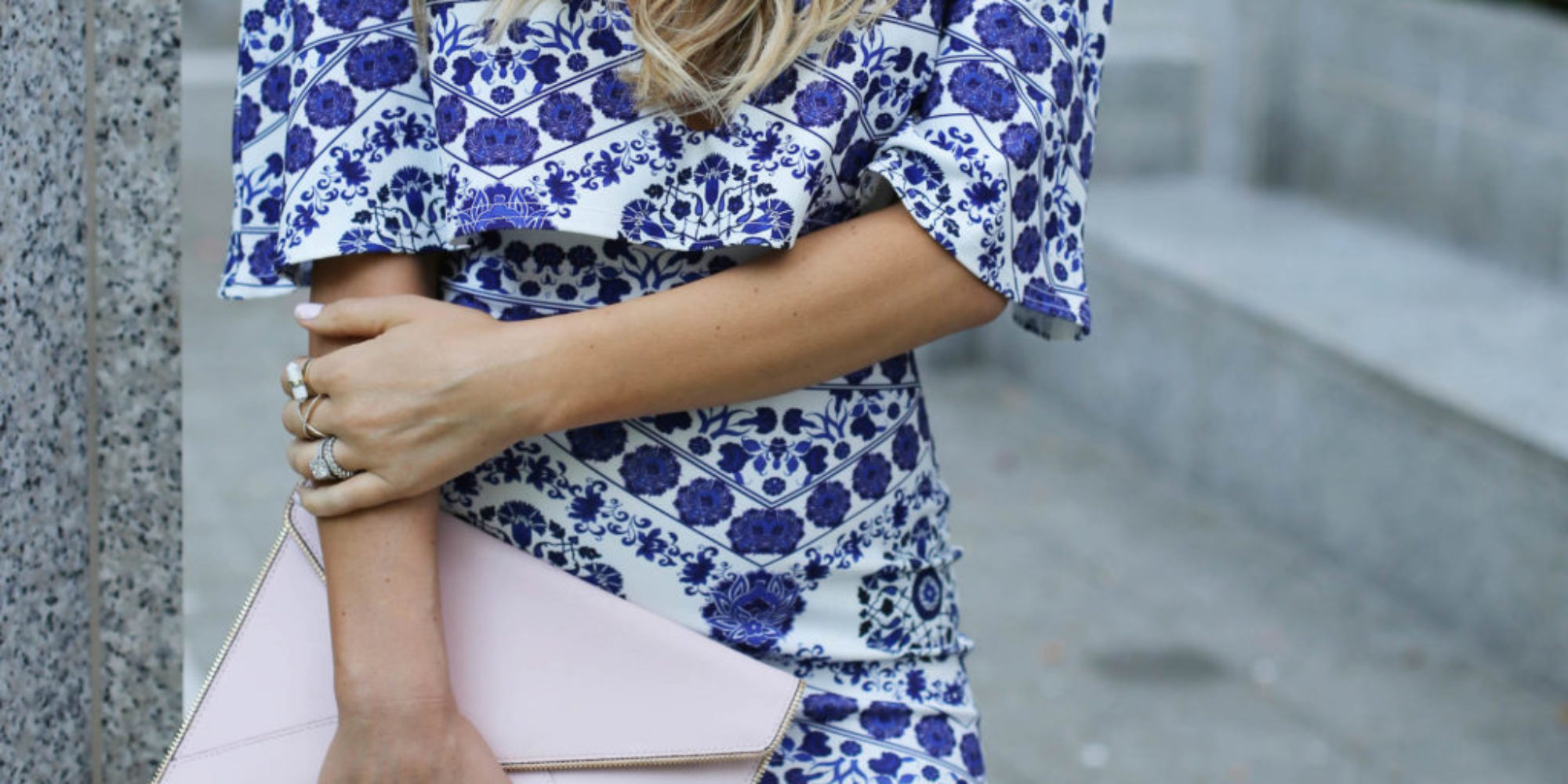 blue and white print cape dress styled by kasey