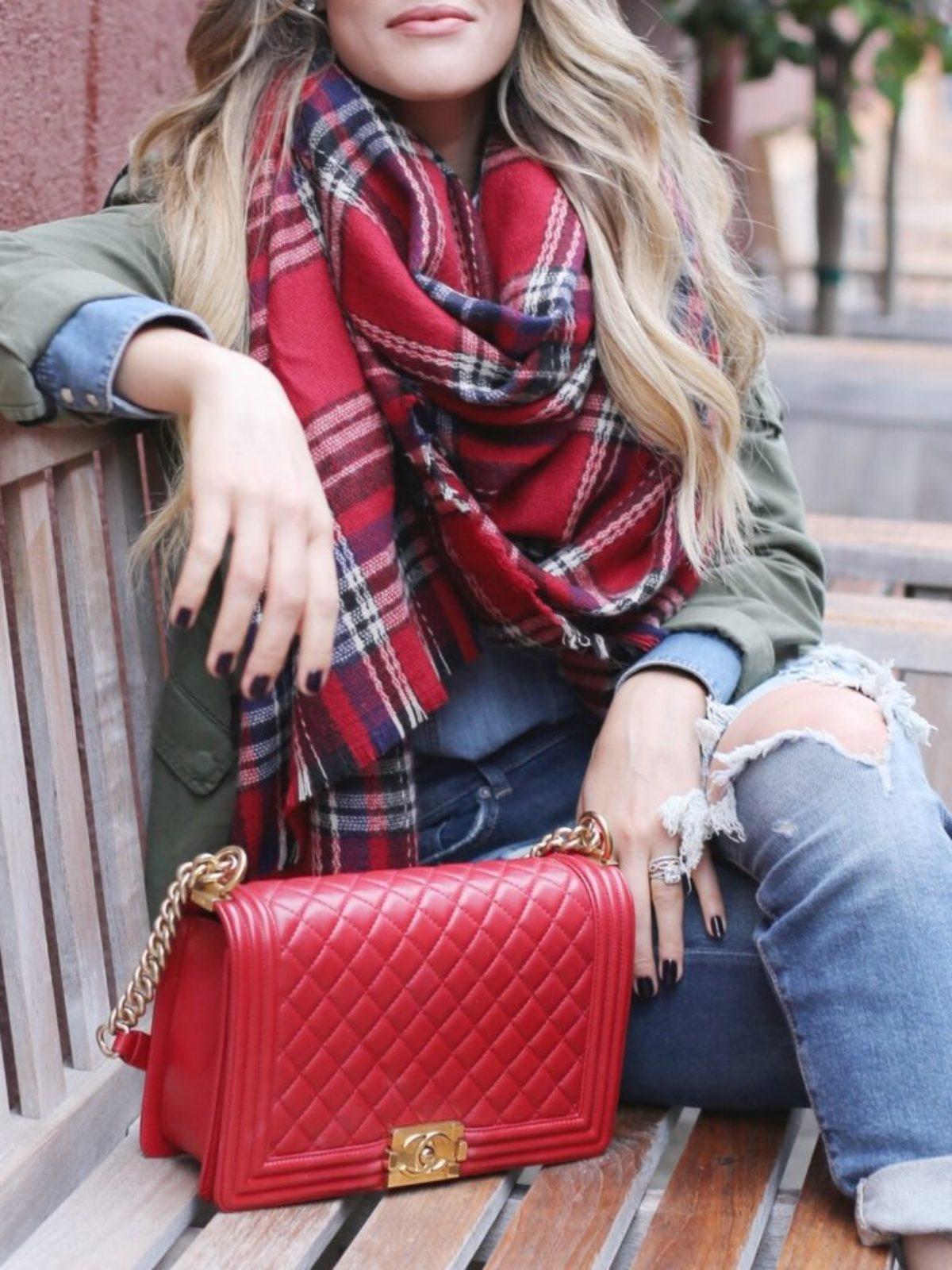 red lulus plaid scarf