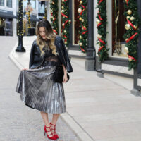 holiday metallic skirt styled by kasey