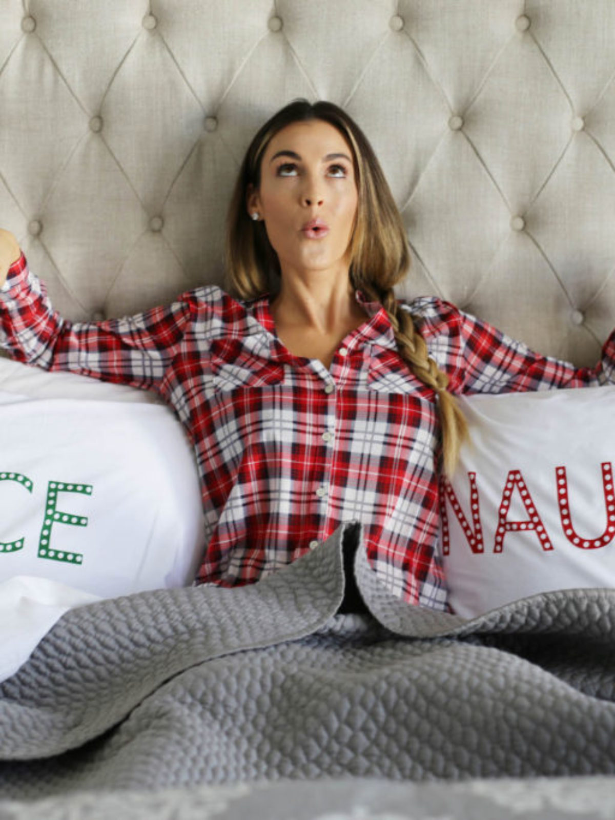 holiday pjs bedroom styled by kasey
