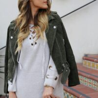 suede and sweater dress