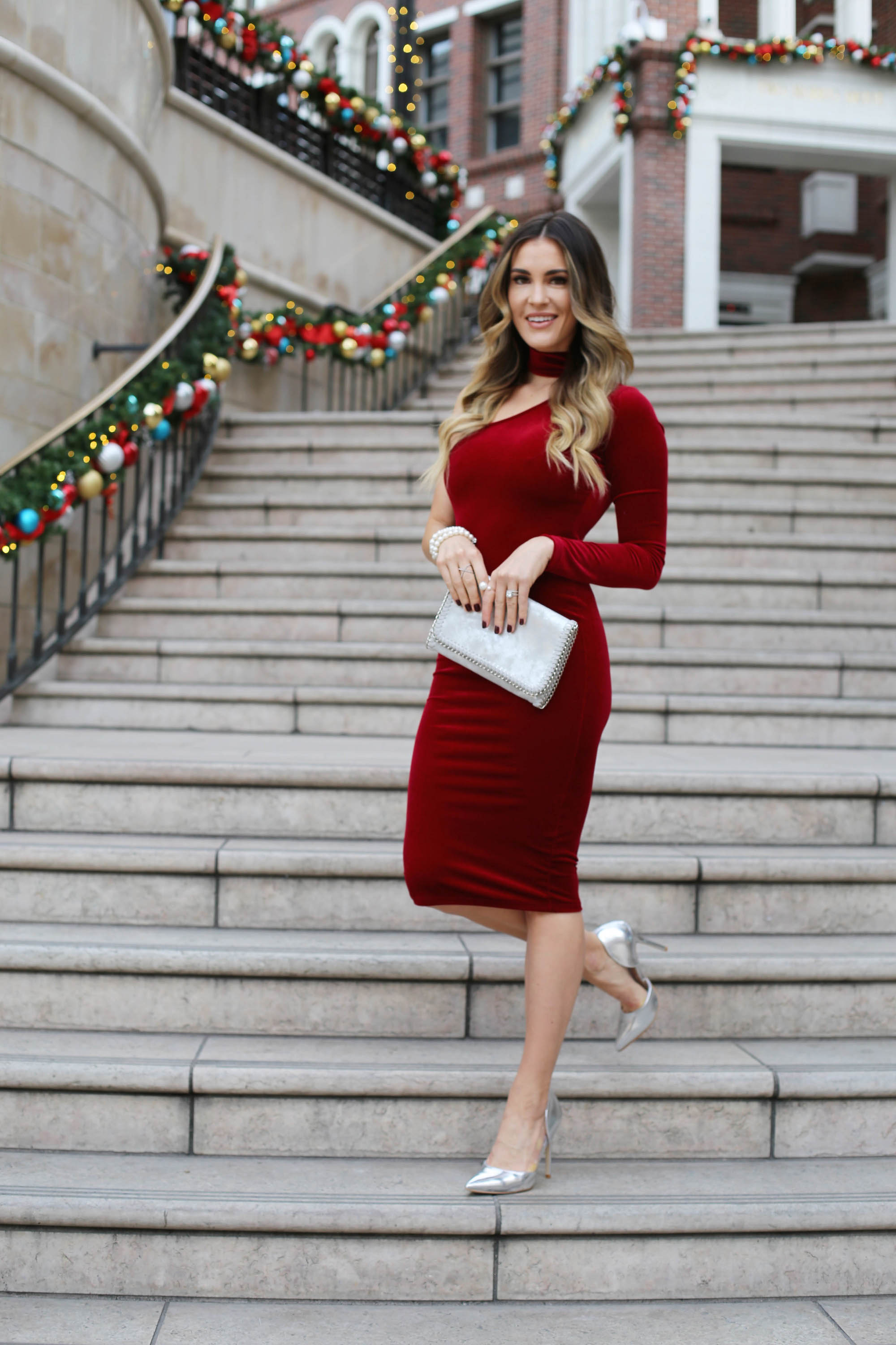 velvet holiday dress styled by kasey