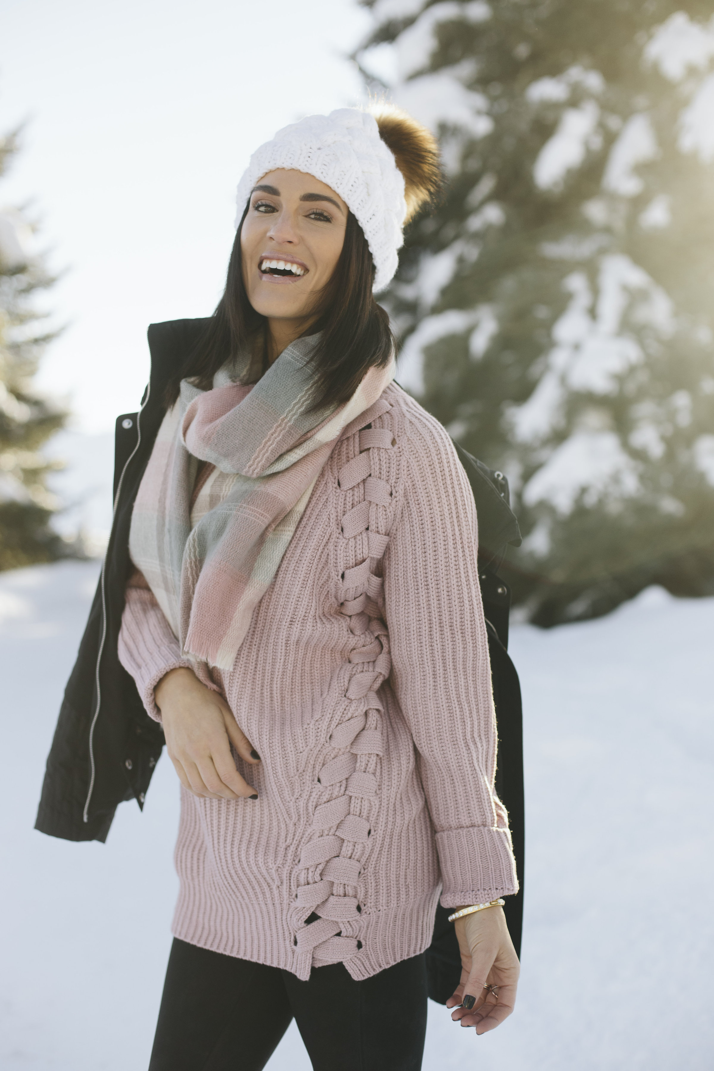blush knit winter outfit