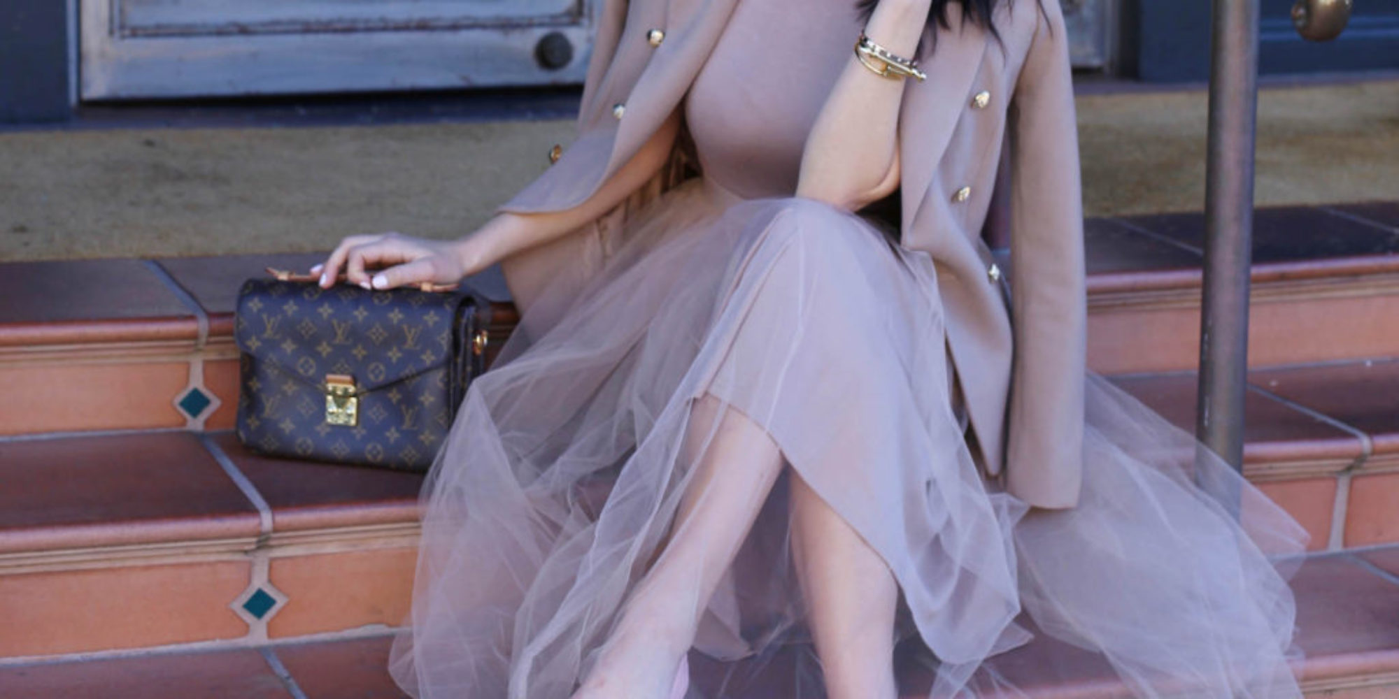 nude dress styled by kasey