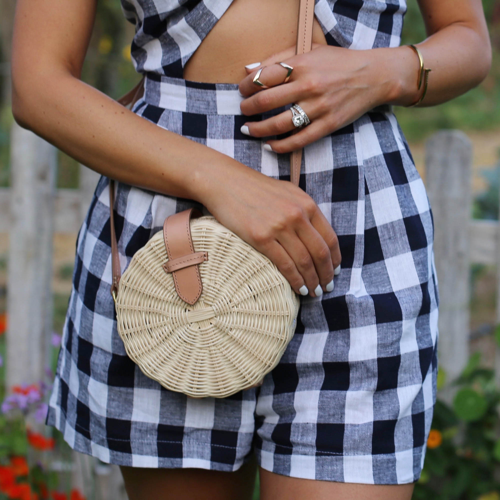 gingham romper styled by kasey