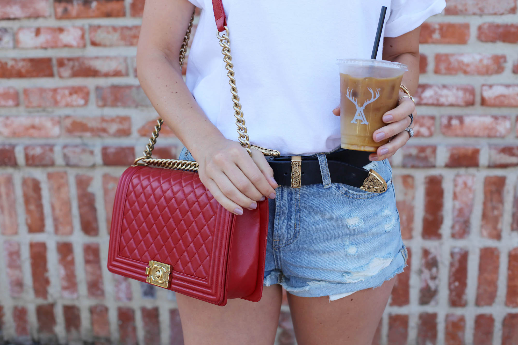iconic tee red chanel denim shorts