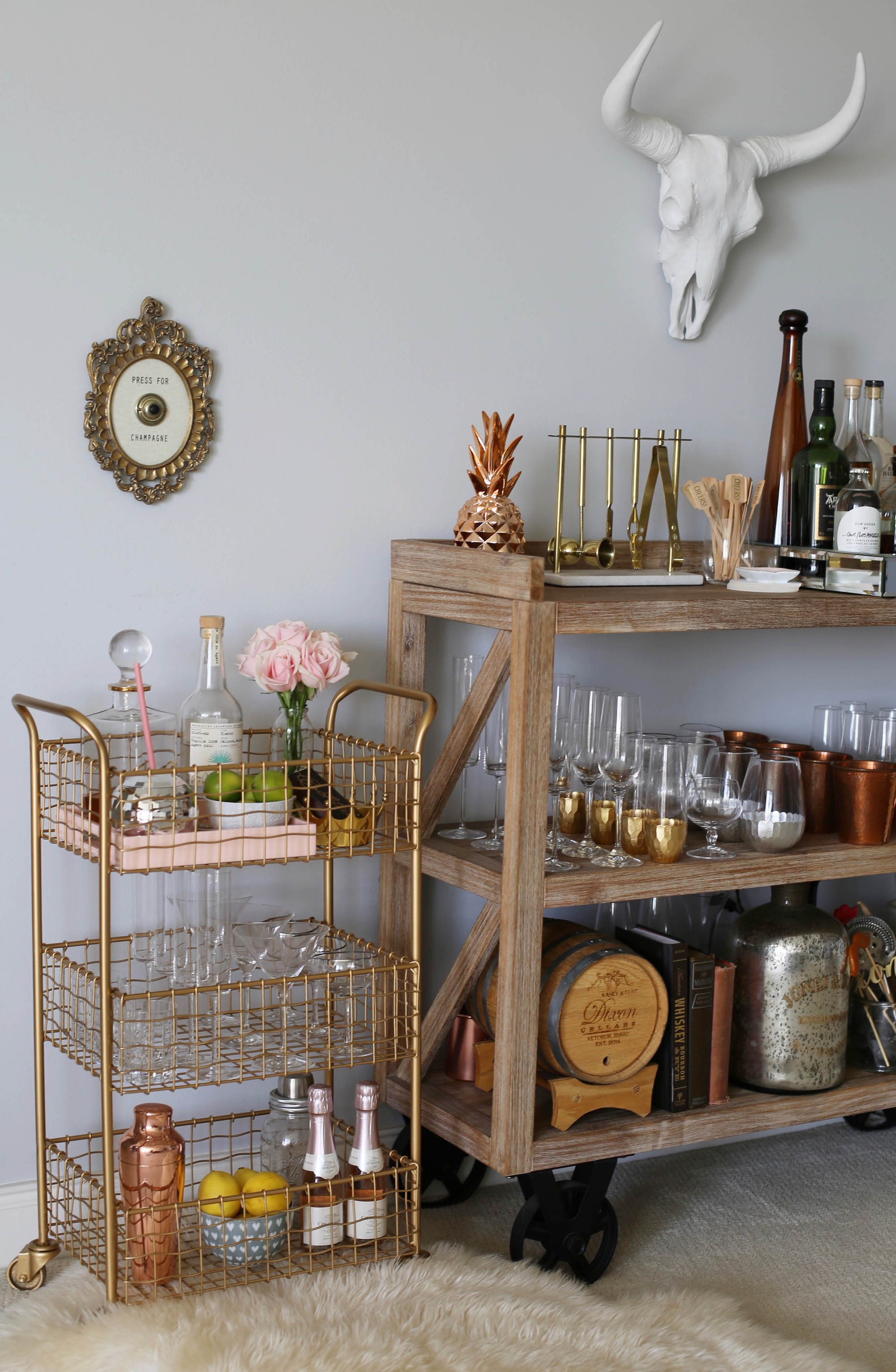 gold cart mini bar cart