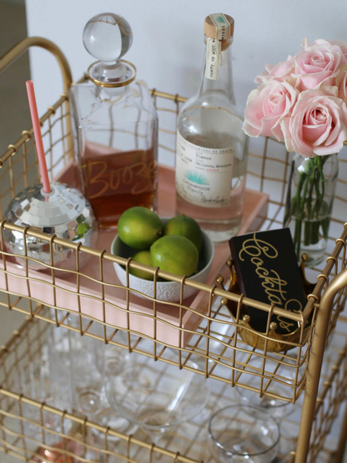 gold min bar cart