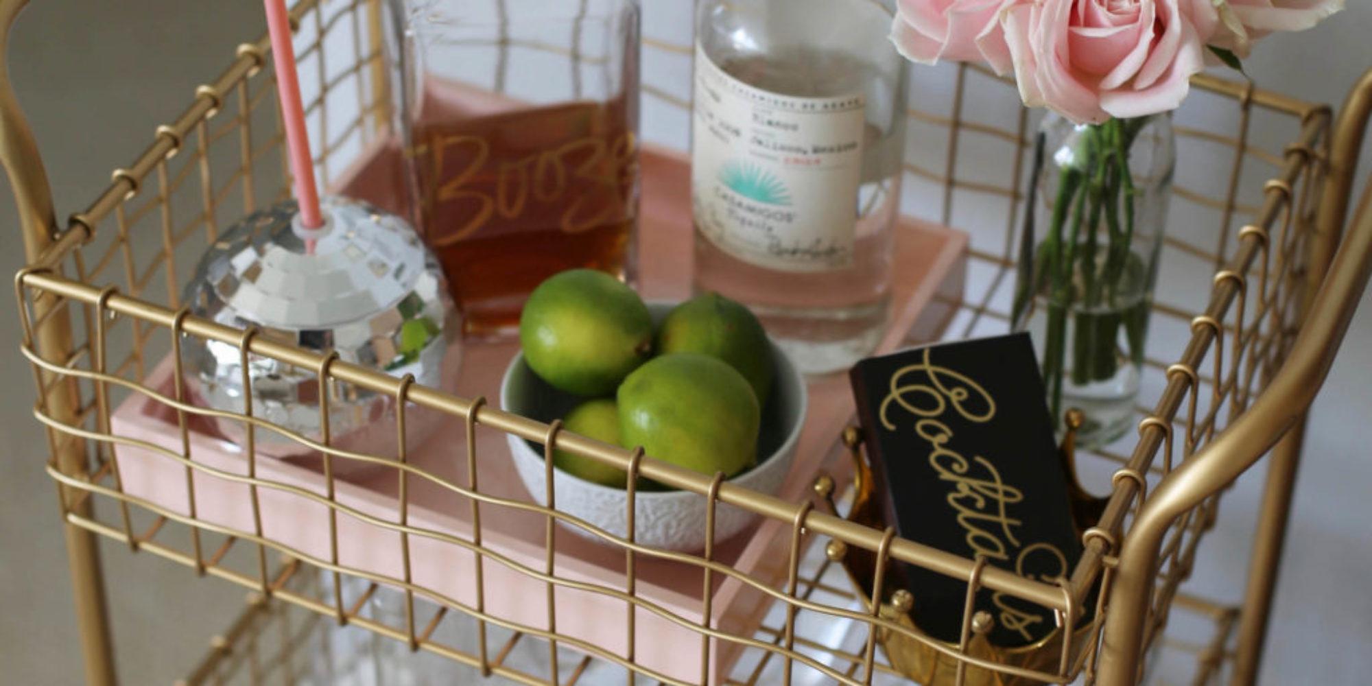gold min bar cart