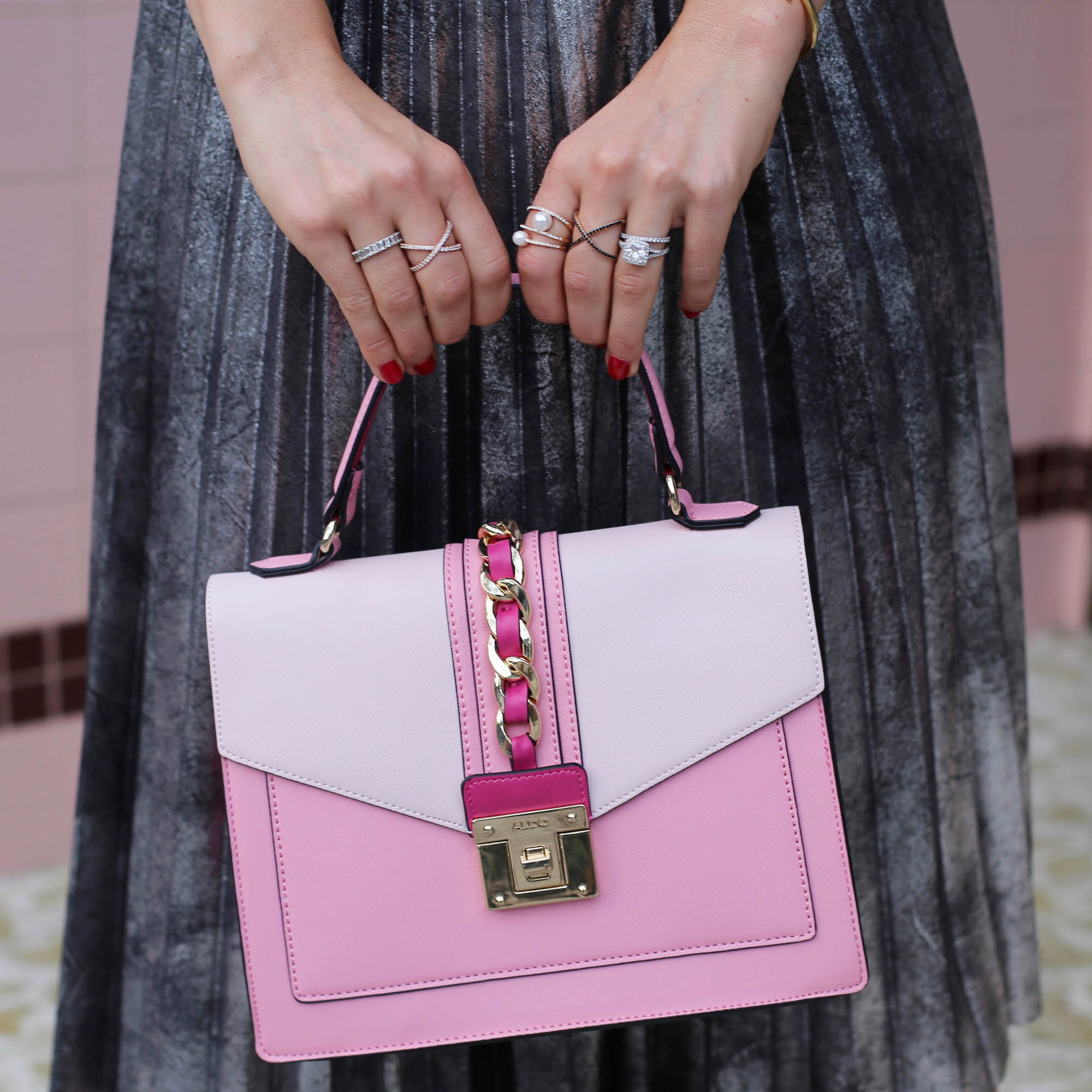 pink and pleated skirt