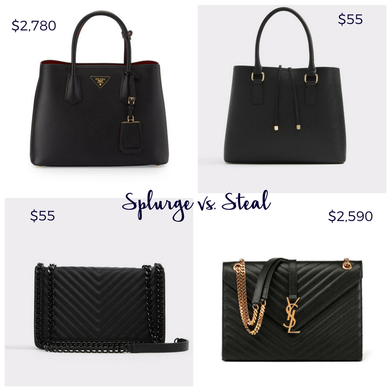 black splurge vs steal bags