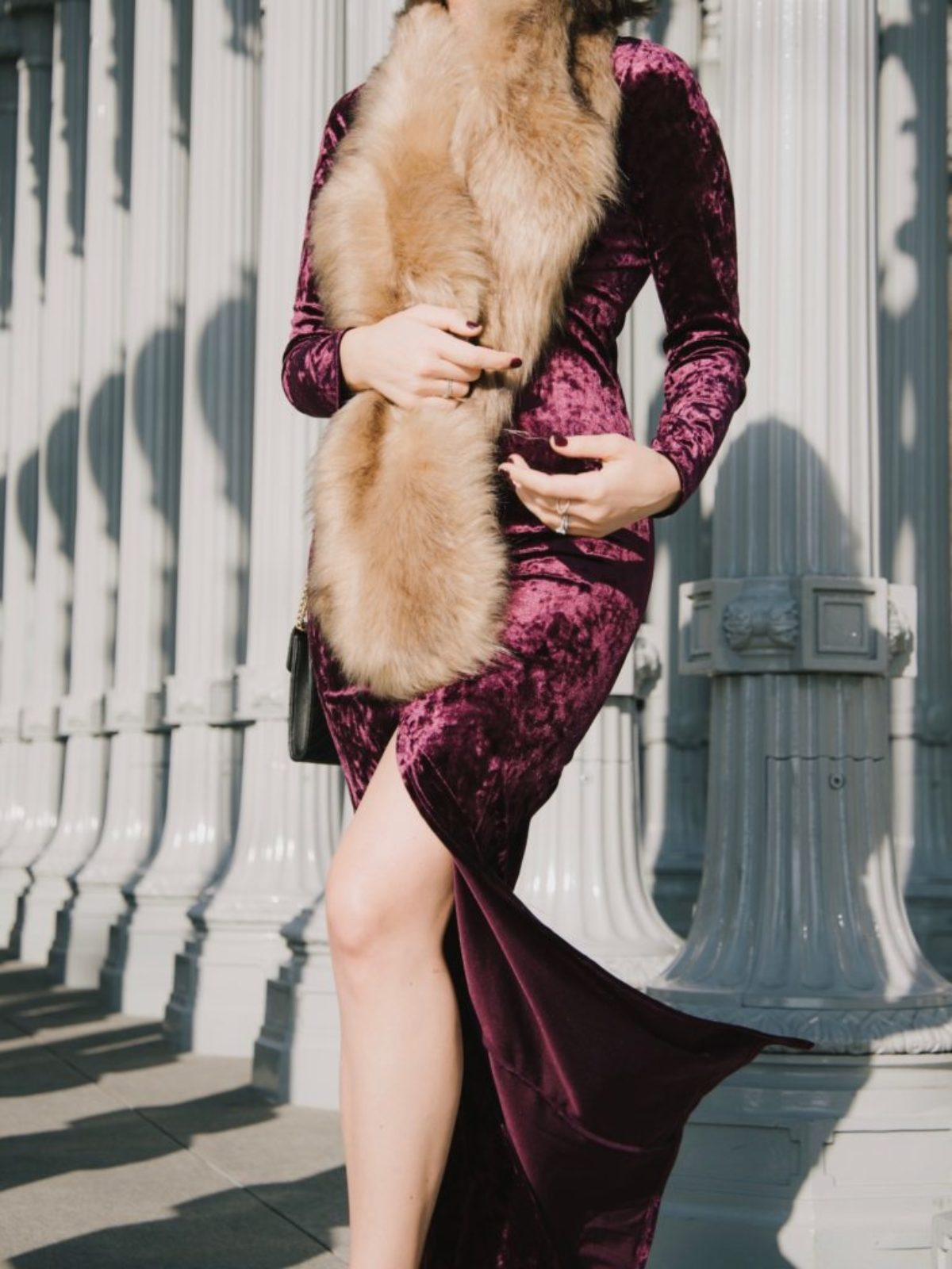 velvet dress faux fur wrap