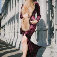 velvet dress faux fur wrap