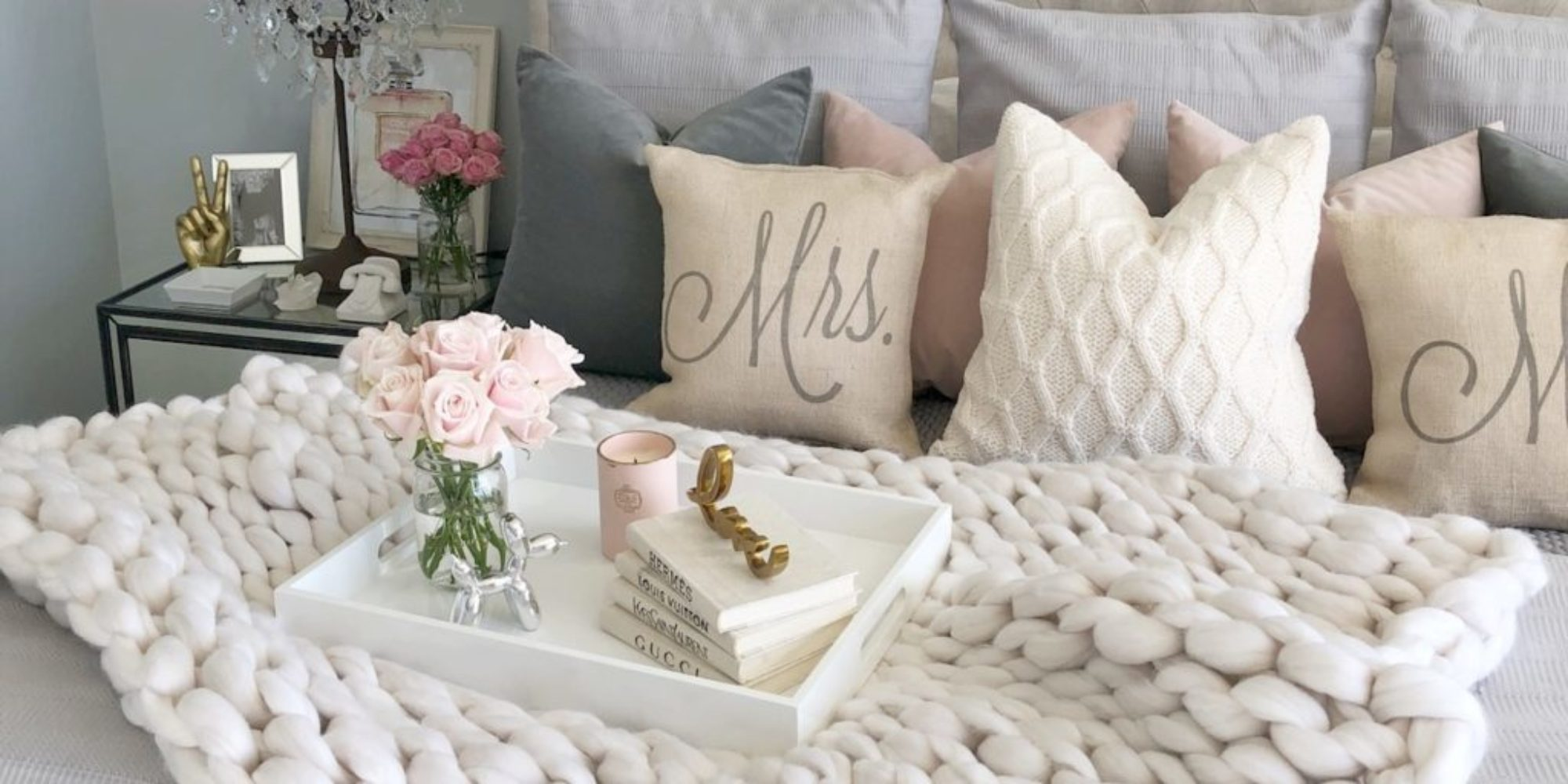 tufted bed shabby chic bedroom