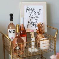 rosé bar cart