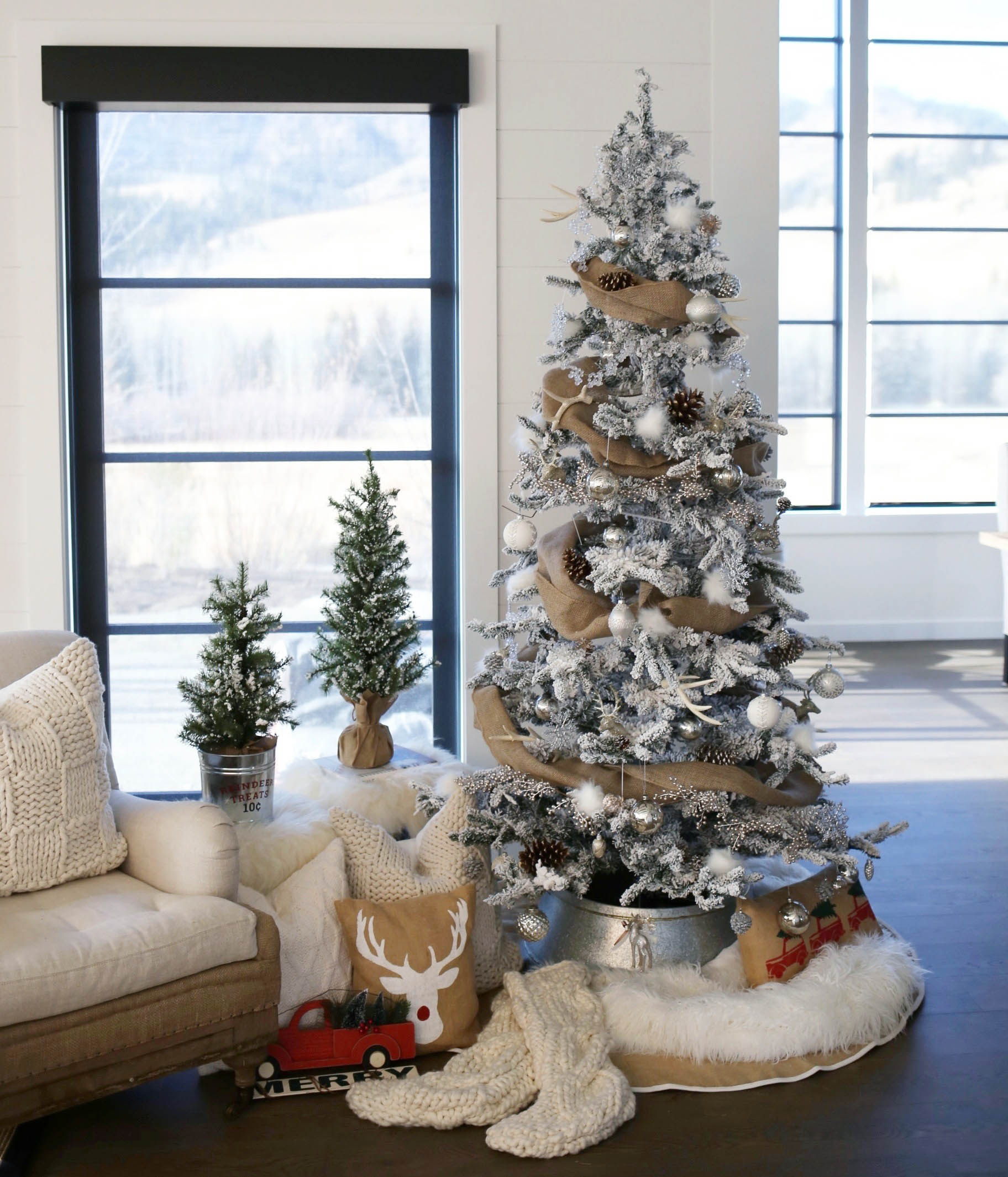 Flocked Farmhouse Christmas Tree Styled By Kasey