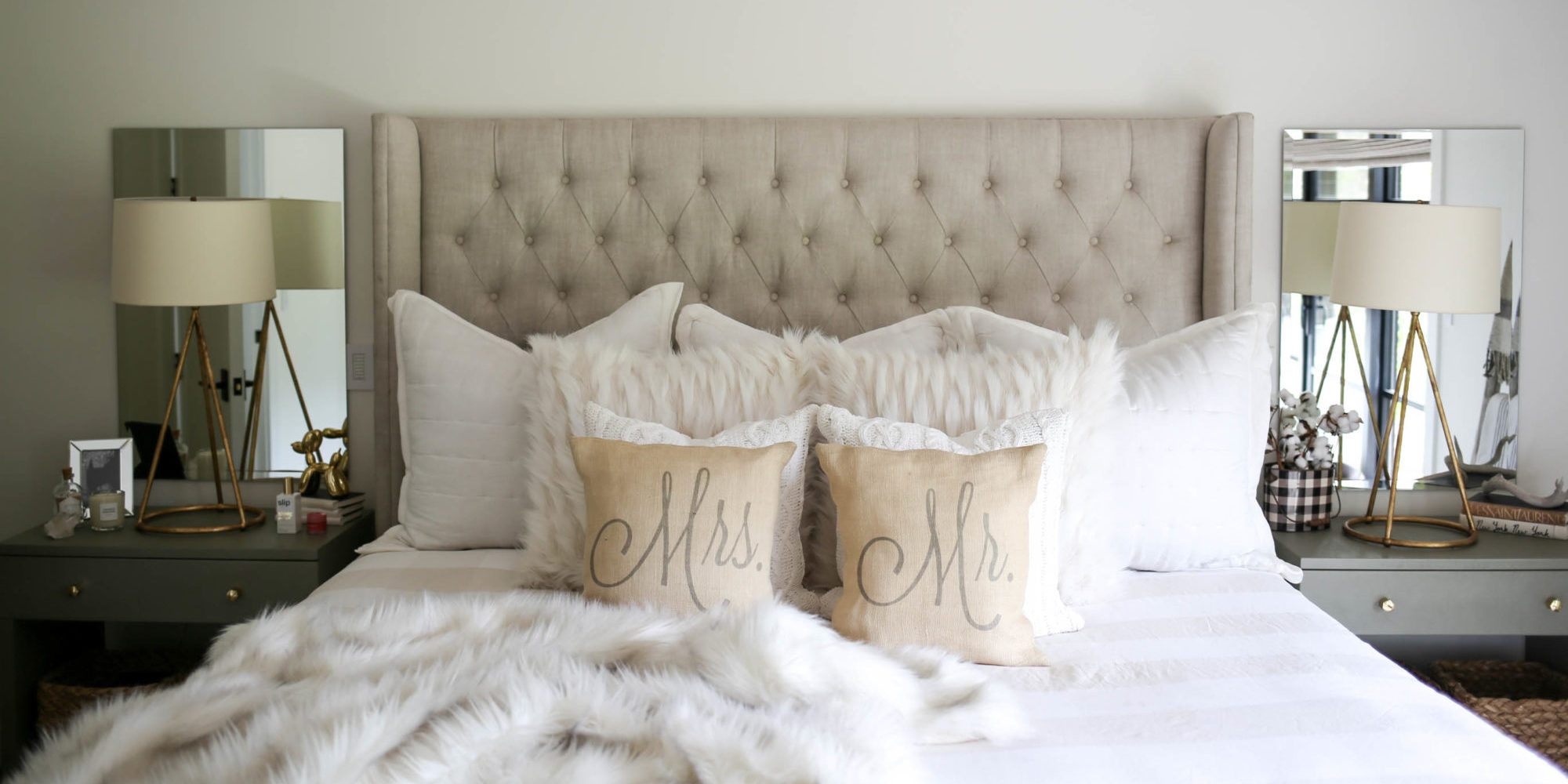 Neutral Modern Farmhouse Bedroom - Styled By Kasey