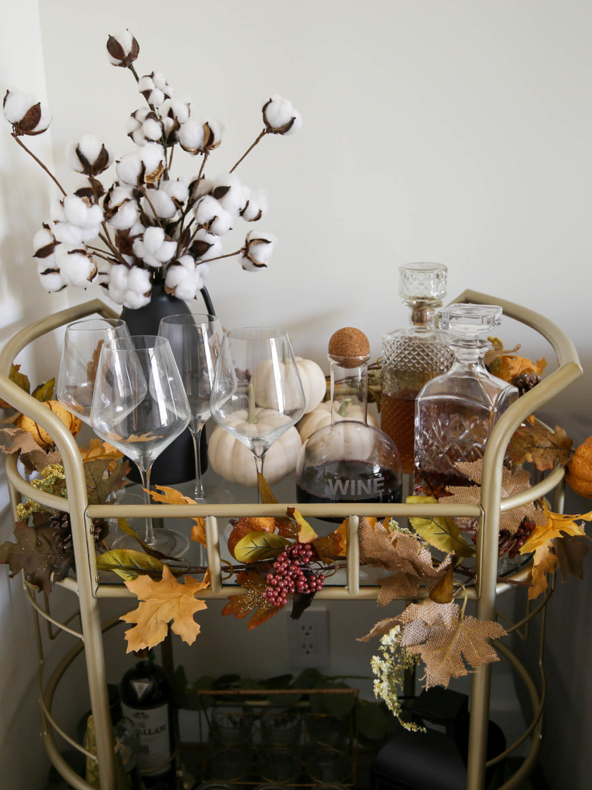 fall bar cart styling