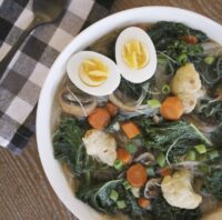 vegetable and rice noodle soup