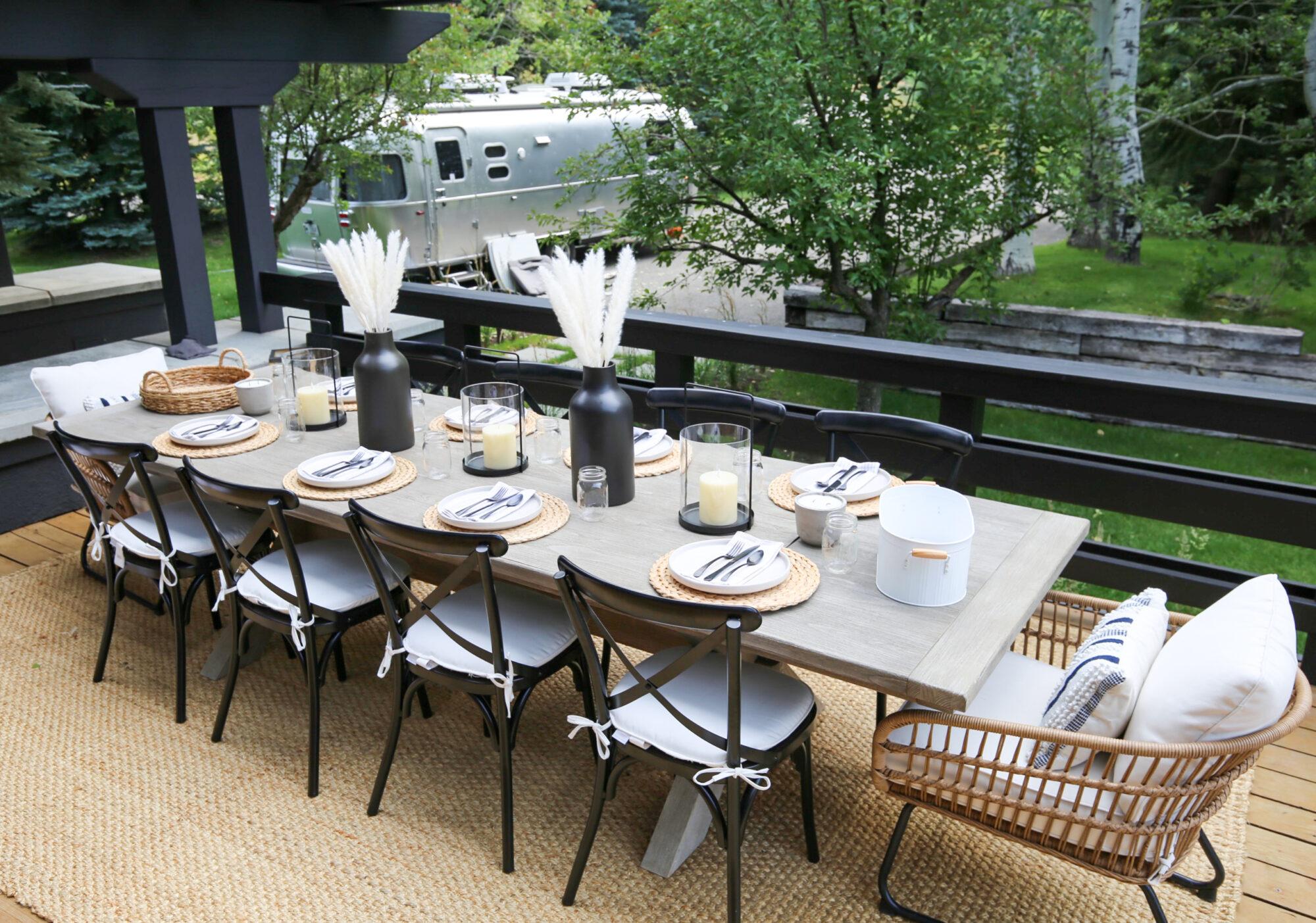 outdoor dining simple farmhouse table