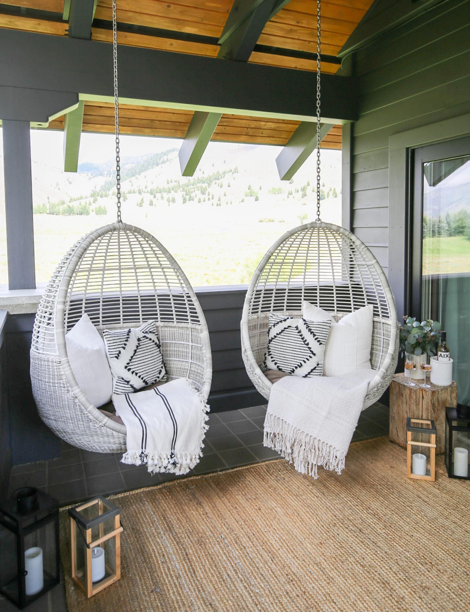 outdoor hanging chair nook