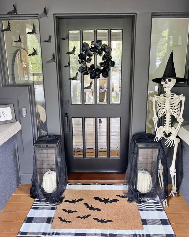 H A L L O W E E N \ And so it begins… things are getting a little SPOOKY around here!!🦇 Say hello to Mr. Bones!!👋🏻💀Setup my front door decor today including a few of my all time favorite Halloween items - bats, layered door mats and pumpkins! I also did a festive witch hat DIY! Coming to SBKliving.com this weekend✨ Nighty night, BOOS👻  Shop my setup NOW over on the LTK app! Click the link in my bio🧙🏻♀️ #sbkliving  #halloween #halloweendecor #fall #happyfall falldecor #halloweenporch #porch #doordecor #liketkit #LTKunder50 #LTKhome #LTKSeasonal @shop.ltk http://liketk.it/3oi6p