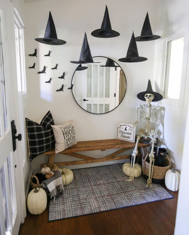 H O M E \ The Halloween decorating continues!!💀 Just posted my hanging witch hat entry on SBKliving.com🖤🧙🏻♀️ Now that the house is decorated it's time to enjoy October a d watch a Halloween movie!! What's your fave??  #halloween #halloweendecor #entry #farmhousebench #sbkliving #witchhats #liketkit #LTKhome #LTKHoliday #LTKSeasonal @shop.ltk http://liketk.it/3p68u