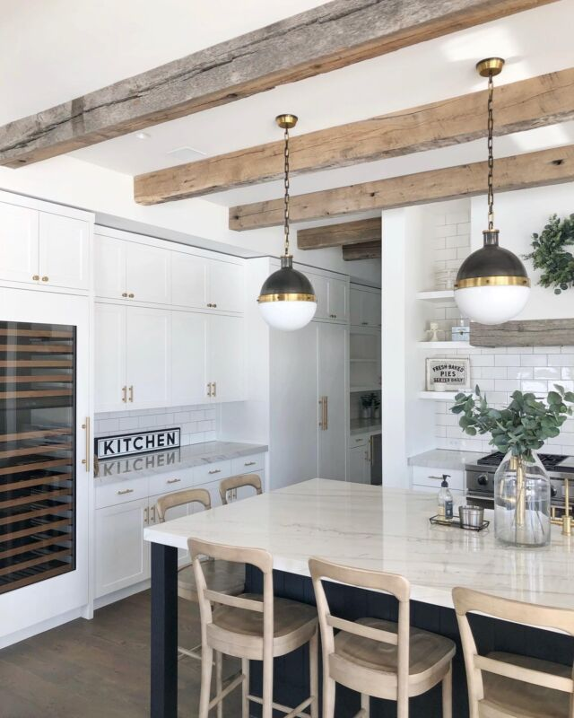 """H O M E \ Currently daydreaming about the new house💭💭 Specifically the KITCHEN!! The heart of a home and my favorite room🥰 I've been pining inspo all day. Here's what I know so far… there will be beam accents, light countertops, touches of white oak cabinetry and 💯 a La Cornue stove!!🙌🏻 Going for a """"modern ranch"""" with this house - one story, warm color palette, natural stones, wood accents, and a whole lot of windows to capture the views!! Indoor/outdoor👌🏻 I could go on and on!! Sharing my inspo over on stories and a link to my NEW house Pinterest board🙋🏻♀️ Let the designing begin!!  #kitchen #kitchendecor #homebuilding #kitchenisland #quartzitecountertops #kitchendesign #kitchencabinets #kitcheninspo"""