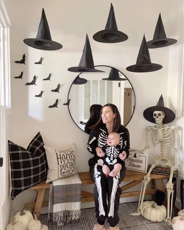 W E S T \ Waiting on witches with my 5 month old baby boo🧙🏻♀️👻   I can't believe we are already here!!🤯 Swipe right to see my little skelly babe💀 He's been all smiles, rolling, eating up a storm and now, sleeping in his own room👏🏻 West is getting SO big😭😭😭 It really does go by fasttttttt  Enjoying this time with him and I'm loving our first October/Halloween 🖤🖤🖤  Learn how-to hang witch hats on my REELS. It's V easy!! Shop our spooktacular entry and skeletons on the @shop.ltk app! Click the link in my bio🧙🏻♀️  #sbkliving #halloween #halloweendecor #entry #entryway #liketkit #LTKfamily #LTKhome #LTKSeasonal @shop.ltk http://liketk.it/3q5Je